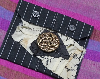 Gift Card Holder,Jewelry Pouch,Money Pouch,Upcycled Clothing,Shabby Chic