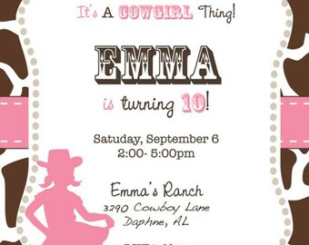 Pink Cowgirl with Brown Cow Print Invitation