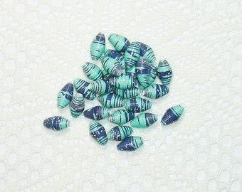 Paper Beads, Loose Handmade Jewelry Supplies Barrel Baseball Seattle Mariners Argyle