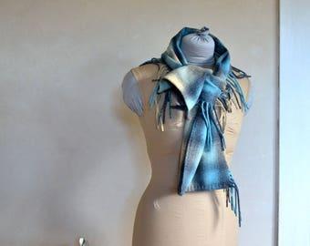 Blanket Fringed Scarf Merino Wool Super Soft Blue Grey & Beige Ombre Plaid