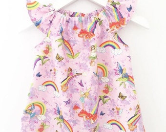 READY To POST, Age 1, Handmade flutter sleeve dress, Faires, Rainbow, butterflies, FREE Hair Bow