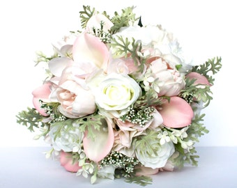 PINK WEDDING BOUQUET- Blush Pink Wedding Bridal Bouquet , Pink and Mint , Real to Touch Peonies Bridal Bouquet, Pink and mint bouquet