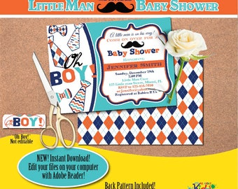 Little man Baby Shower Invitation-Edit Files yourself Instantly-Mustache Baby shower Invite-Little Gentleman-DIY Editable Invitation-B-105-1