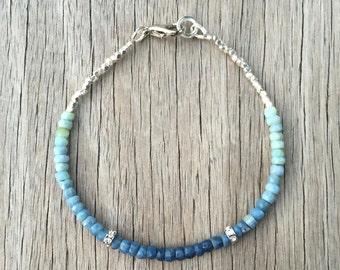 Blue Sapphire Beaded Bracelet, Precious Gemstone Bracelet, Karen Hill Silver Bracelet, Delicate Bracelet September Birthstone Ombre Sapphire