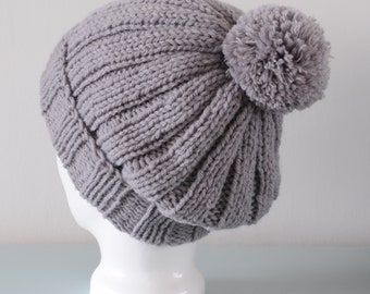 Grey Pom Pom Beanie Hat - Knitted Ribbed Slouch Chunky Merino Wool Acrylic Unisex Winter Accessory Gift for Him or Her by Emma Dickie Design