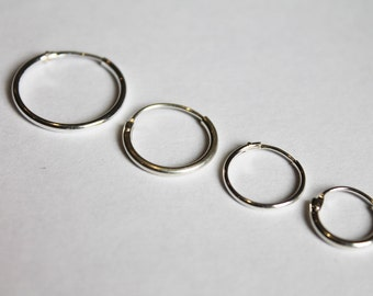 925 Sterling Silver Pair of Hinged Hoop Sleeper Earrings Select 11mm 13mm 15mm or 18mm