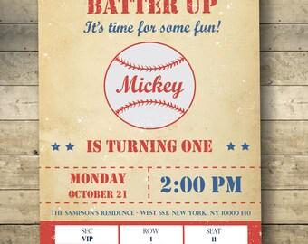 Vintage Baseball Birthday Invitation-Baseball Birthday Party-Batter Up Birthday Invitation-Batter Up-Vintage-Home Run-Digital Download