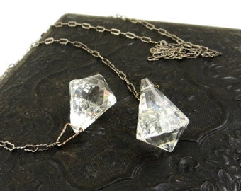 Art Deco Glass Negligee Lariat Necklace Clear Crystal Sterling Silver Necklace 1930s Art Deco Wedding Jewelry Dainty Elegant Classy