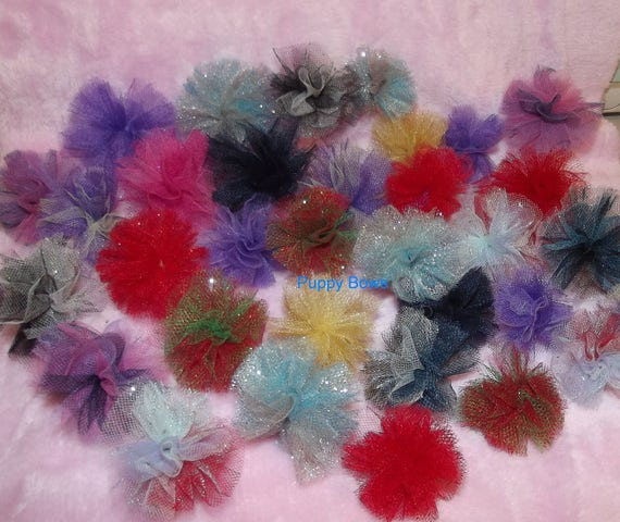 Puppy Bows ~NEW disco balls dog grooming bow all colors of tulle pom poms