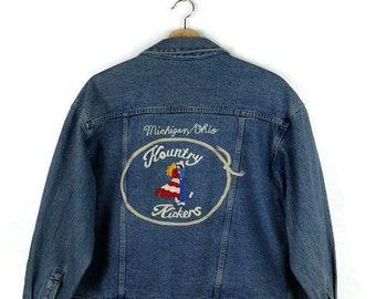Damaged Vintage Kountry Kickers embroidered Denim Jacket/Michigan/Ohio