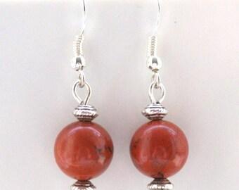 Red Jasper Gemstone Earrings with Sterling Silver Hooks New Drops LB14