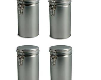 4 pcs Airtight Tea Coffee Tins with Latch