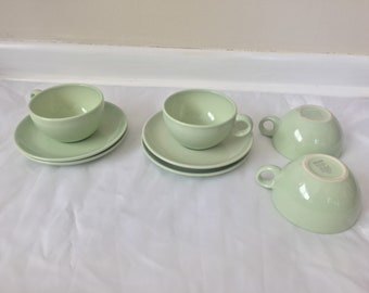 8 piece Russel Wright Iroquois Casual China Lettuce Green Dinnerware Set - Cup and Saucer