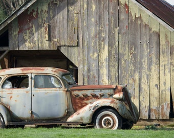 Americana Wall Decor ~ Antique Car Photo ~ Weathered Barn Fine Art Photography, Man Cave Decor, Gray Automotive Vintage Print, Gift for Him