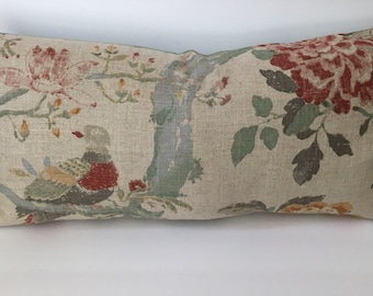 Floral Bird Taupe Green Decorator Throw Pillow Cover 12x23 rectangle