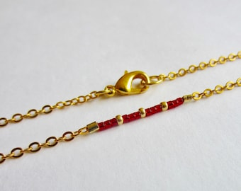 Dainty Red Layering Necklace Boho Necklace Thin Simple Red Seed Bead Necklace Dainty Gold Necklace Minimalist Jewelry