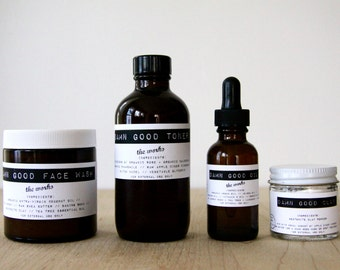 Damn Good Set: The Works Face Wash + Toner (of your choice) + Oil (of your choice) + Clay (of your choice) -- 100% natural skin care