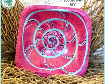 "Abstract Nautilus Handpainted Ring Bowl, OOAK, #1690 ""Nautilus Pink"""