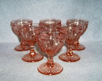 Pink Magnet and Grape Champagne or Sherbet Glasses Set of 6