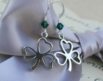 Sterling Clover earrings with or without crystal