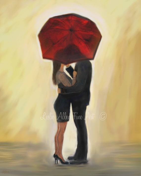 Couple Art Print Couples Wall Decor Kissing Couple in Love