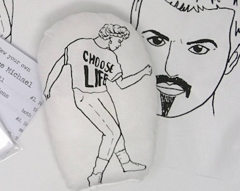 GEORGE MICHAEL screen printed doll, mini cushion, WHAM. Ready made. Kits also available. 80s
