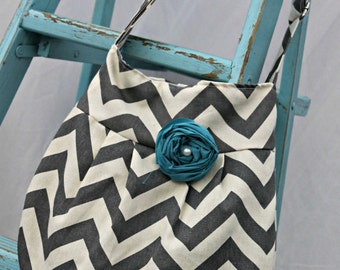 Hobo Purse, Grey Chevron, Cross Body Handbag, Fabric Purse, Hipster Handbag, Chevron Bag, Grey and Teal, Handmade Chevron Purse, Fashion Bag