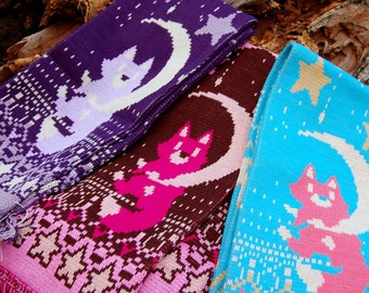 Fox Kitsune on the Moon with stars Knitted Yarn Scarf