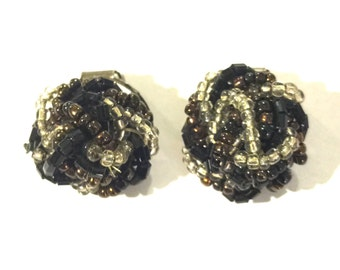 SALE! Black beaded clip on earrings- vintage beaded clip ons black out