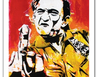 "12 x 18"" - Johnny Cash art print - Johnny Cash poster - Johnny Cash flipping the bird - Johnny Cash middle finger - Johnny Cash pop art"