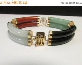 On Sale Vintage Estate 14K Calligraphy Link Translucent Multicolor Jade Double Row Link Bracelet