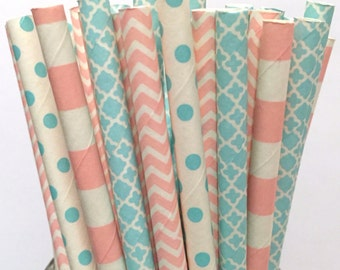 2.85 US Shipping -Gender Reveal Paper Straws - Pink and Blue straws - Cake Pop Sticks - Drinking Straws
