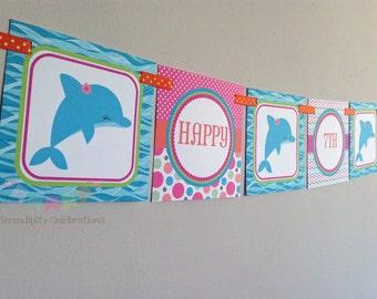 BRIGHT Dolphin Happy Birthday Word Banner -Square Banner -Dolphin Birthday Banner -Dolphin Party