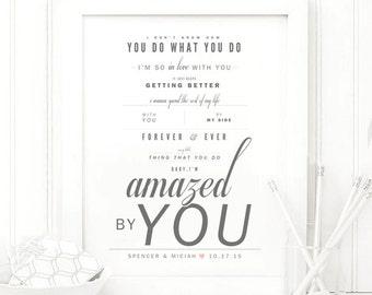 "Lonestar ""Amazed"" - Grey & Blush - Valentine's, Wedding Gift, Paper Anniversary Gift, Song Lyrics, Art Print"