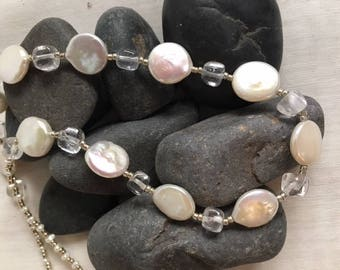 Lustrous coin pearl, clear crystal & silver accent bead necklace