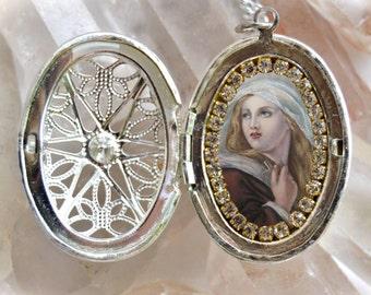 Mary magdalene etsy saint mary magdalene handmade locket necklace catholic christian religious jewelry medal pendant mozeypictures Gallery