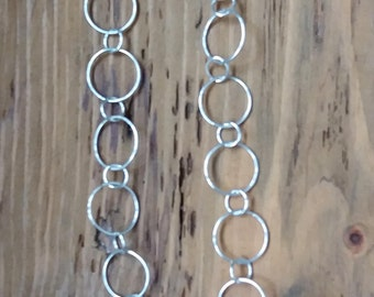 ladies handmade sterling silver circles chain.63 -66 cms long free UK shipping