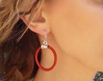 Hoop Silver Earrings, Dangle Earrings, Red Leather Earrings, Lightweight Round Earrings, Circle Earrings, Non-allergic Red Earrings.