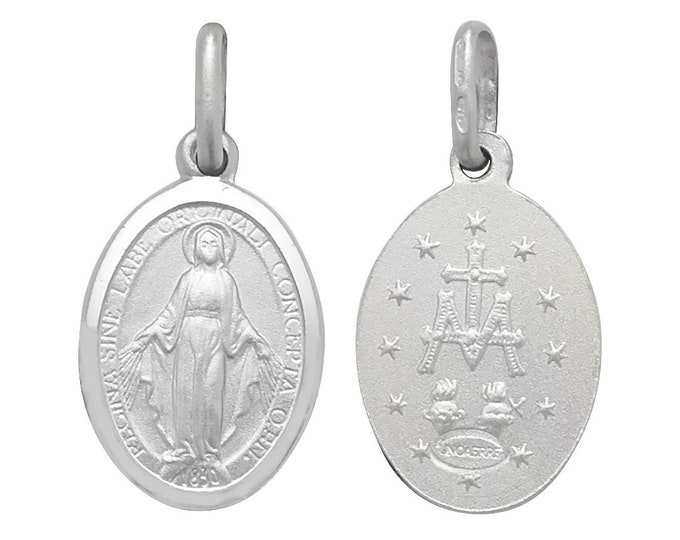 925 Sterling Silver Oval Miraculous Madonna Medallion Charm Pendant
