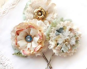 Bridesmaid Hair Pins - Floral Hair Accessory - Bride Hairpiece - Boho Hair Flowers - Flower Hair Piece - Fabric Hair Flowers - Bridal Hair