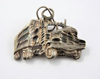 Large Gravel or Dump Truck Sterling Silver Charm or Pendant.