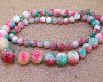"""Full Strand Round Multicolor  Rainbow Jade Beads ----- 6mm-20mm ----- about 60Pieces ----- gemstone beads--- 15"""" in length"""