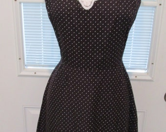 80's Black with White Polka Dots Rockabilly / Swing / Sun Dress by Julie Miller of California Size 12