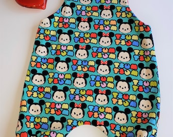 Harem romper, Romper jumper (Puperita), overall, tsum tsum fabric, baby clothes, baby harem pants, baby shower gift