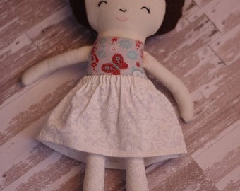 Charming Fabric Doll in Print Skirt