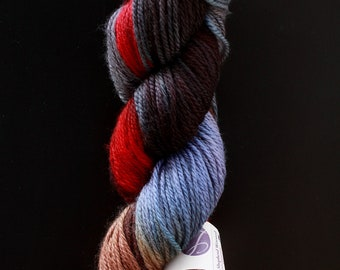 DESTASH lorna's laces shepherd worsted hand dyed painted wild turkey red blue tan brown