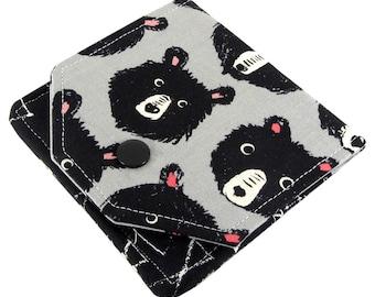 Bear Wallet, Small Womens Wallet, Travel Wallet, Minimalist Wallet Women, Fabric Wallet, Wallets For Women, Credit Card Wallet