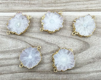Mystical White Geode Slice Druzy Crystal Gemstone with 24k Electroplated Gold Cap and Bail -- Double Bail Pendant Connector (D54S21-05
