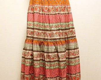 Vintage provence skirt - French provence cotton fabric - Size free