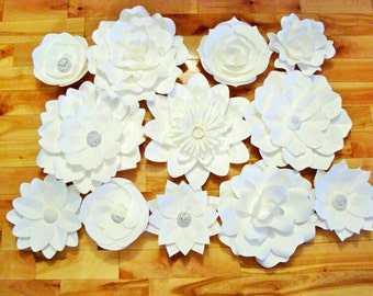 Set of 12 paper flowers -  Paper Flowers | Paper Flower Wall | Paper Flower Wedding | Photo Backdrop | Wedding Decor | Baby Nursery Decor